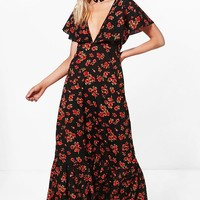 Petite Hannah Floral Tie Back Maxi Dress | Boohoo
