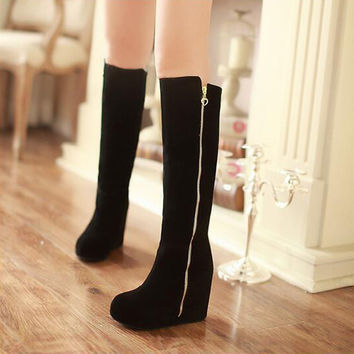 PU Round Toe Side Zipper Hidden Heel Platform Knee High Boots