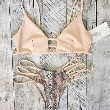 Hollow Snake Print Swimwear Bikini Swimsuit