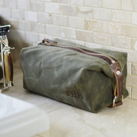 NO. 339 Compact Dopp Kit, Men's Toiletry Bag, Groomsmen Gift, Gift for Him, Grooming Bag, Travel, Waxed Cotton Canvas and Horween Leather