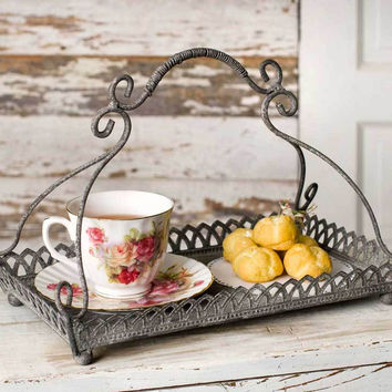 Chantilly Metal Serving Tray - Farmhouse Decor