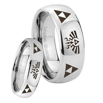 His Her Classic Mirror Dome Legend of Zelda Tungsten Carbide Silver Rings Set