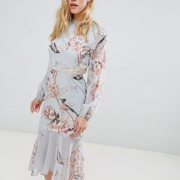 Hope & Ivy Long Sleeve Open Back Printed Midi Dress With Delicate Lace Trim at asos.com