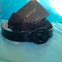 DCCK Gucci Mens Black Imprime Belt 95cm 32-34