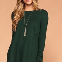 Krysha Hunter Green Round Neck Long Sleeve Top