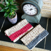 Knitted Kitchen/Dish/Tea Towel,100% Cotton, Striped (Country Red/Gray/Blue and Peaches & Cream mix),Hanging Optional