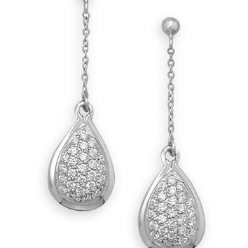 Rhodium Plated Pave Cubic Zirconia Drop Earrings