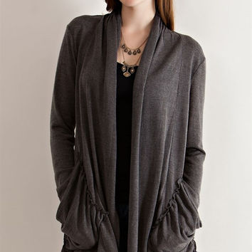 Open Cardigan With Draped Pockets - Charcoal