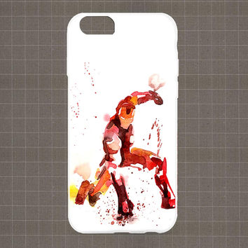 Marvel Heroes Watercolor IROMAN iPhone 4/4S, 5/5S, 5C Series Hard Plastic Case