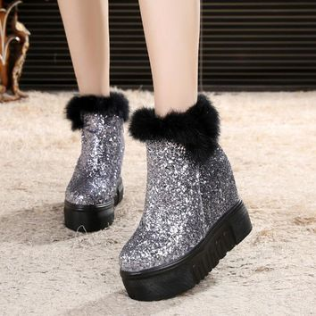 bling bling super high platform boots women fur around increasing wedges shoes woman cozy plush glitter snow boots 2018 c57