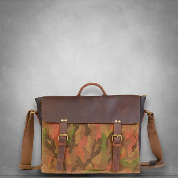 January Sale Sale 30% off Limited time only  Camouflage Camo Genuine Leather and Canvas Messenger Bag laptop tablet A4 documents postman