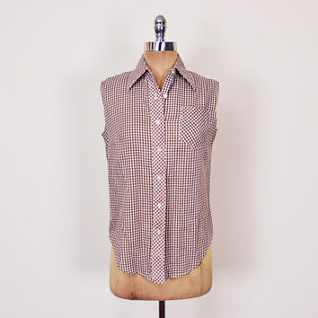 Brown Gingham Check Plaid Shirt Western Shirt Western Blouse Button Up Shirt Sleeveless Shirt 50s Rockabilly Shirt 70s Shirt Women S Small