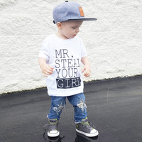 Mr. Steal your girl graphic Children's Toddler Tshirt. Sizes 2T, 3t, 4t, 5/6T