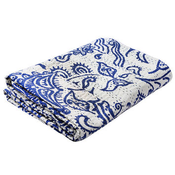 kantha indigo Blue Kantha Quilt, Indian Handmade Kantha Bedspread Blanket Throw, Cotton Ralli Gudri Reversible Coverlet, Vintage Decor Art