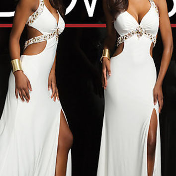 Open Back Ivory Evening Gown by Tony Bowls