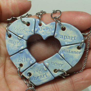 Friendship jewelry Heart puzzle pendants set of 8 Always together quote Baby Blue