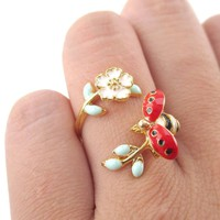 Ladybug on a Floral Branch Shaped Enamel Adjustable Ring