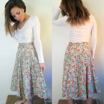 1970s Sears Cotton Permapleat Floral Skirt 26 Inch Waist Daisy Print