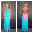 How Low Can You Bow Maxi Dress - TEAL