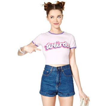 Weird Letters Print T-shirt Crop Top