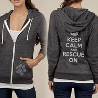 Keep Calm Rescue On Paw Print Studded Zip Up Fleece by KindLabel