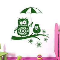 Wall Decals Owl on Branch Childrens Decor Kids Vinyl Sticker Wall Decal Nursery Baby Room Bedroom Murals Playroom - Owl Decor SV6003