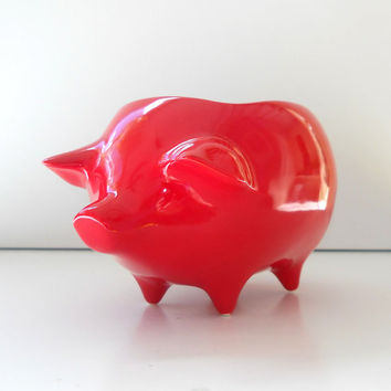 Ceramic Pig Planter Vintage Design in Chili Pepper Red Succulent Planter Retro Sponge Holder Home Decor