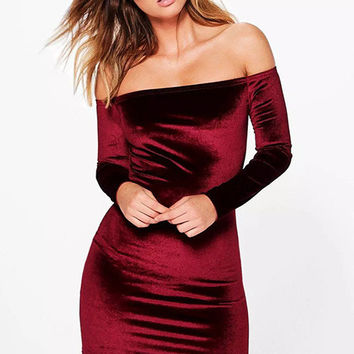 Off Shoulder Velvet Short Prom Bodycon Dress