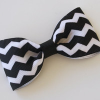 Reverse Chevron Hair Clip, Black White Hair Clip, Simple Bow Tie Tuxedo Hairbows, Toddler Hairbow, 3 Inch Bow
