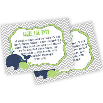 Lime Whale Baby Shower Book Card Insert - Printable DIY Book Insert Navy Whale - Modern Whale Neutral Boy - Lime Green Books for Baby Sea