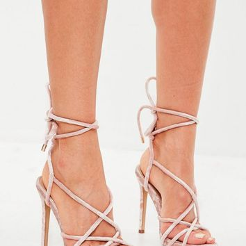 Missguided - Pink Velvet Gladiator Heeled Sandals