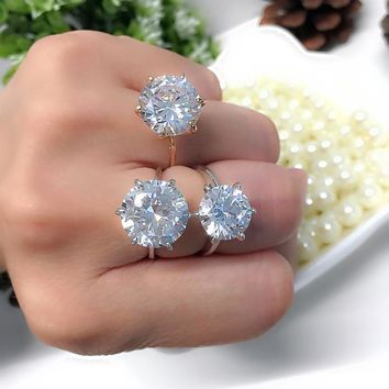 MOONROCY Silver Cubic Zirconia Crystal Promise Wedding Rings for Women 5 Carat Bride Accessories Jewelry Drop Shipping Rings