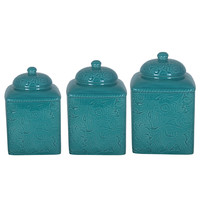 HiEnd Accents Savannah Turquoise Canister 3-piece Set | Overstock.com Shopping - The Best Deals on Storage Canisters