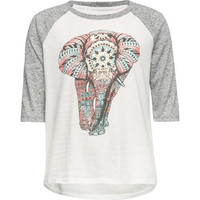 Full Tilt Metallic Ethnic Elephant Girls Raglan Tee Oatmeal  In Sizes