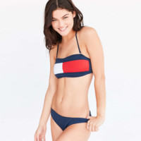 Three-color stitching Navy wind split swimsuit waist waist sexy sexy bikini contrast red-blue
