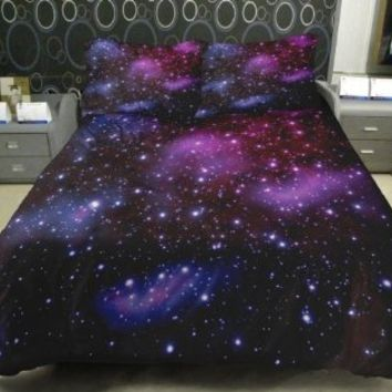 Anlye Galaxy Bedding 1 Galaxy Duvet Cover 1 Galaxy Flat Sheet 2 Pillowcase Satin(not Cotton) Twin