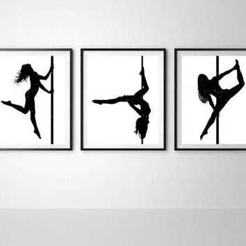 Pole dancer Minimalist art Set of 3 prints Modern home decor Bedroom wall art Gift for dancer Printable art Ready for print Large poster