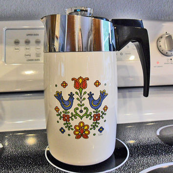Vintage Corning Ware Country Festival 10 Cup Percolator Coffee Pot E 1210 No Cord