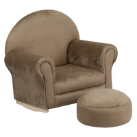 Kids Brown Microfiber Rocker Chair and Footrest