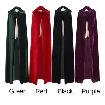 DCCKHY9 Free Shipping Adult Witch Long Purple Green Red Black Halloween Cloaks Hood and Capes Halloween Costumes for Women Men