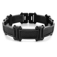 Black-plated Stainless Steel Men's Carbon Fiber Link Bracelet | Overstock.com