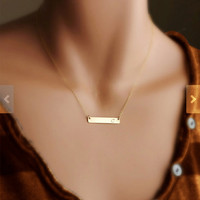 Minimal Personalized Name Necklace Gold Fill 14K  Name Bar Any Name,any letter,any initial,nameplate monogram,celebrity engraved gold bar