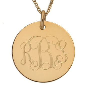 Gold Initial Engraved Large Pendant / Personalized Gift / Round Initial Pendant