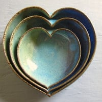 pottery heart bowls - wheel thrown pottery - 4 inches
