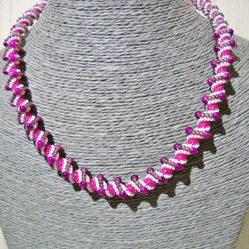 Cellini spiral necklace in fuchsia, white and eggplant with purple glass beads, pink necklace,beaded necklace,handmade necklace,gift for her