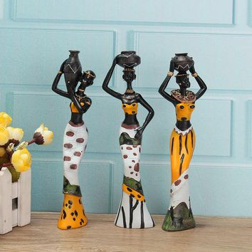 Hot Sale 3PCS African Lady With Vase Ornament Ethnic Statue Sculptures National Culture Table Figurine Crafts Home Decor Gifts