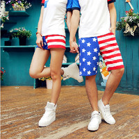 Casual US Flag Beach Holiday Shorts for Couples