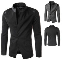 Tunic Style Blazer with Leather Detail