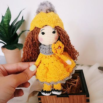 Crochet Dress, Amigurumi Doll, Crochet Girl, Custom Doll, Doll Clothes, Baby Girl Gift