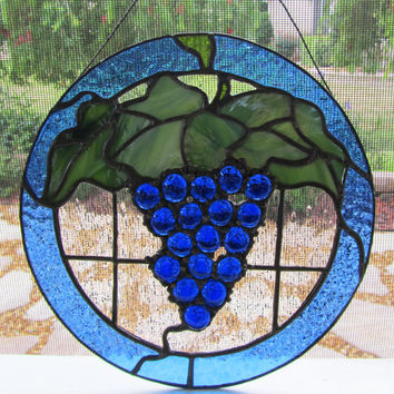 Grape Cluster Stained Glass Sun Catcher ~ Home Decor